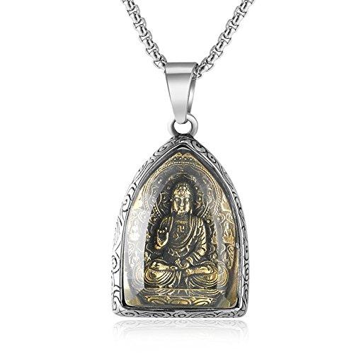 jajafook Retro tibetischen Buddhismus Buddha Anhänger Amulett Halskette für Männer Frauen, 61cm Kette