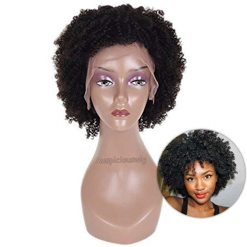 auspiciouswig kurz Afro Gelockt brasilianisches Echthaar Full Lace Front Perücken für Damen schwarz -