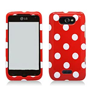 Aimo LGMOTIONPCPD303 Trendy Polka Dot Hard Snap-On Protective Case for LG Motion 4G/Optimus Regard - Retail Packaging - Red/White