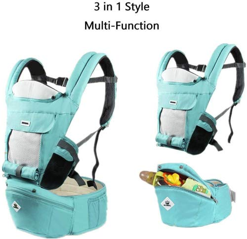 All Seasons 360 Ergonomic Baby Carrier 3 in 1 Backpack with Hip Seat-12 Position,Adapt to Growing Baby (Newborn, Infant & Toddler), Adjustable Baby Carrier Sling,Baby Diaper Bag with Large Capacity tqgold Ergonomic And Comfortable: Ergonomic Butterfly hip seat design to ensure baby's hips and legs are positioned correctly and comfortably, minimizes leg bending and prevents O-LEG Breathable And Soft: 100% cotton with high quality 3-D mesh keeps you and your baby cool. Removable shutter can keep warm in winter and cool in summer, suitable for all seasons use. Wide and sturdy lumbar belt ensures baby's weight is distributed evenly over the carrier's hip and shoulder areas for comfort 3 in 1 and All Carry Positions: The Waist Stool (bucket seat) could be detached from Upper Strap by unbuckling the connection buckles. Both Upper Strap and Waist Stool can be used separately. Front inward (fetal, infant, or toddler settings), front outward, hip or backpack carry options all in one. Face baby in or out. Wear on the hip or back as baby grows. 12