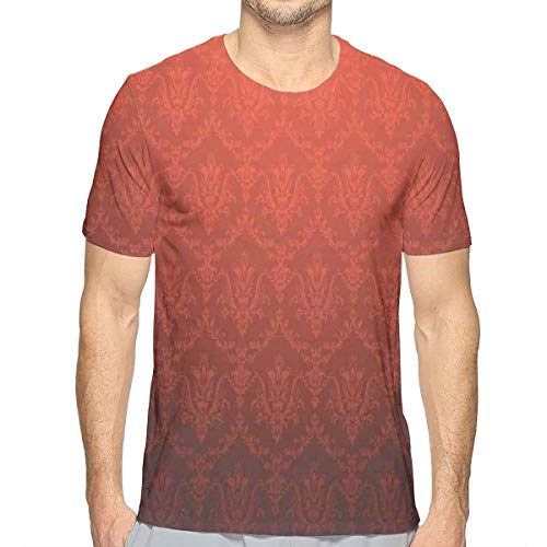 3D Printed T Shirts,Antique Floral Pattern with Baroque Royal Renaissance Influences and Ombre Effect XL -