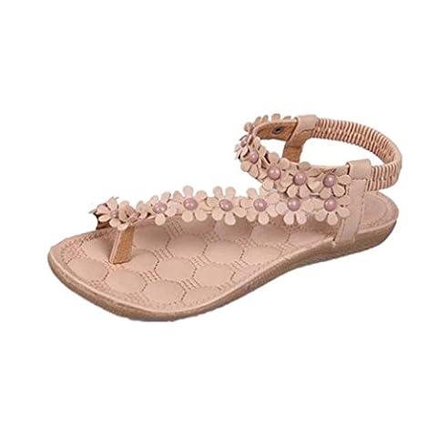 Goodsatar Frauen Sommer Böhmen Blumen Perlen Flip-Flop Schuhe flache Sandalen (40, Khaki 2)
