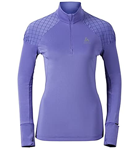 Odlo Damen Running Shirt Langarm Midlayer 1/2 Zip Medalia, Dusted Peri, L, 370291