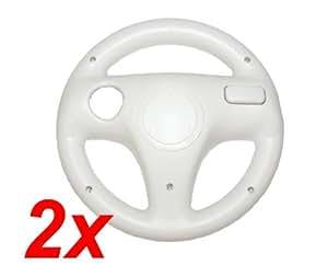 2x Lenkrad Wheel Weiss für Wii Mario Kart, NFS.. - RBrothersTechnologie