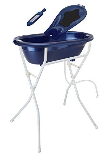 Rotho Babydesign Badelösung TOP / Babybadewanne mit Ständer 98 cm hoch, einklappbar / Baby Badeset inkl. Wanneneinlage, Ablaufschlauch und Thermometer / perl blue