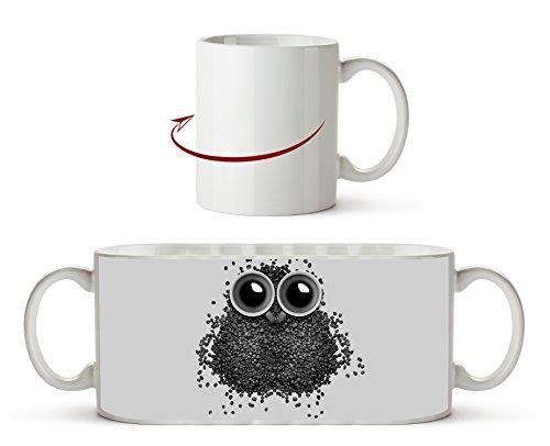 niedliche Eule aus Kaffeebohnen Effekt: Schwarz/Weiß als Motivetasse 300ml, aus Keramik weiß,...