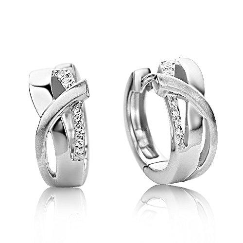 Miore Damen Creolen - Formvollendete Ring-Ohrringe aus 925 Sterling Silber mit 14 farblosen Zirkonia-Steinen - Ohrschmuck 6,5 x 16 mm