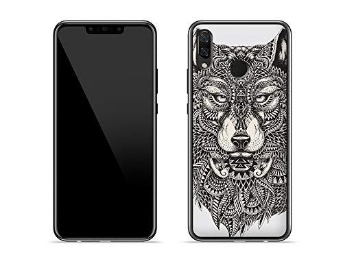 etuo Huawei P Smart Plus - Hülle Fantastic Case - Azteken Wolf - Handyhülle Schutzhülle Etui Case Cover Tasche für Handy
