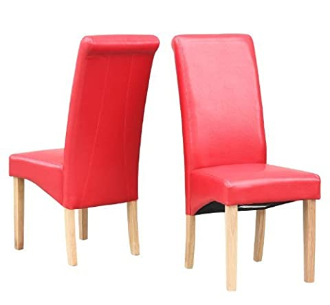 FoxHunter Furniture Set of 2 Premium Red Faux Leather Dining Chairs Roll Top Scroll High Back with Solid Wood Legs Foam Padded Seat Contemporary Modern Look