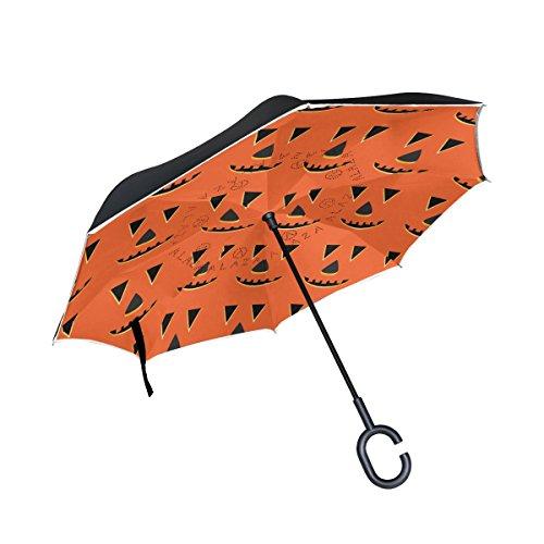 rbis Gesichter Muster Double Layer seitenverkehrt Regenschirm Rückseite Regenschirm für Auto und Außeneinsatz Regen winddicht wasserdicht UV-Schutz Big gerade Regenschirm mit C-förmigem Henkel (Kürbis Halloween-gesichter-muster)