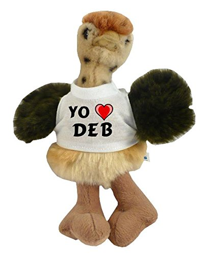 Custom stuffed ostrich (toy) with I love Deb on the shirt (first name / surname / nickname)