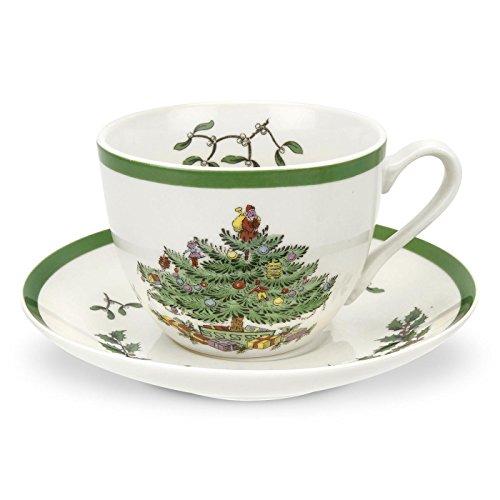 Spode-Tee-Tasse und Untertasse, Keramik, Mehrfarbig, 4Stück -