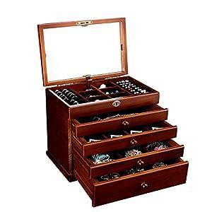 Kimmyer Joyero de Madera Grande, Organizador de joyería de 5 Capas con Cierre de Seguridad y Espejo Extra Grande, para Reloj, Collar, Pendientes, Regalos de cumpleaños, marrón Oscuro