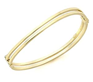 Carissima Gold 9ct Yellow Gold Double Tube Wave Bangle