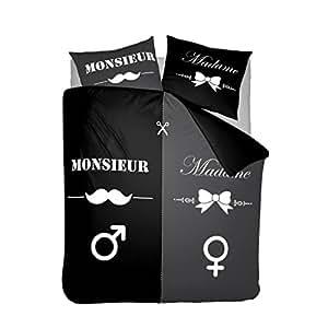 Nightlife housse de couette moustache monsieur et madame noir 140x200 220 avec 1 housse - Housse de couette moustache ...