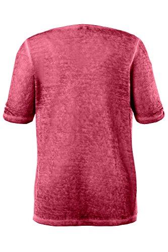 GINA_LAURA Damen | bis Größe XXXL |T-Shirt mit elegantem Wasserfall-Ausschnitt | Feinstrick mit Zipfelsaum & Lagenoptik | Kurzarm in beige oder rosa | 707635 Lipstick