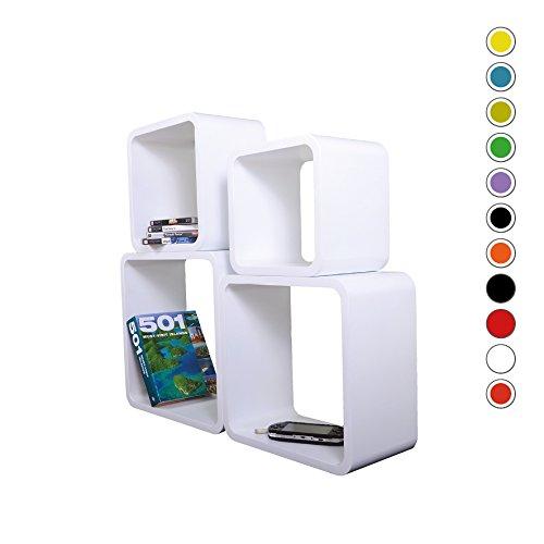 Verstärkte Vielen Farben MDF Retro Design Cube 4er Set Regal Regale Wandregal Deko Würfel CD DVD Lounge Cuben LO02 (Weiß)