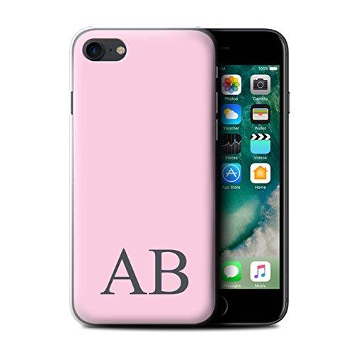 Personalisiert Pastell Monogramm Hülle für Apple iPhone 7 / Korallen Design / Initiale/Name/Text Schutzhülle/Case/Etui Rosa