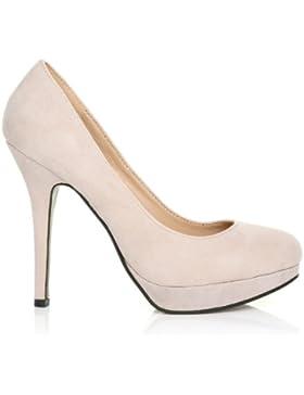 EVE scarpe scollate con tacco a spillo in finta pelle scamosciata color carne e plateau