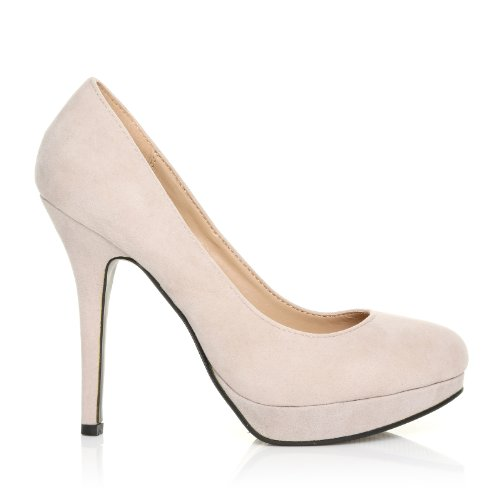EVE scarpe scollate con tacco a spillo in finta pelle scamosciata color carne e plateau Carne scamosciato