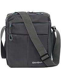 DAHSHA Nylon Cross Body Messenger Sling Bag Travel Office Business Messenger one Side Shoulder Bag for Men Women (Grey, 20 X 9 x 26 cm)
