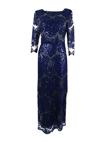 Tahari ASL Womens Lace Sequined Evening Dress