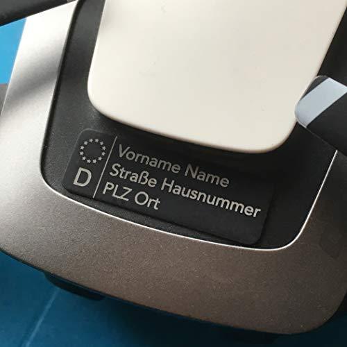 Roboterwerk Fahrzeug-Kennzeichen für Drohnen, Plakette wie auf KfZ - feuerfest, leicht, klein (Schwarz)
