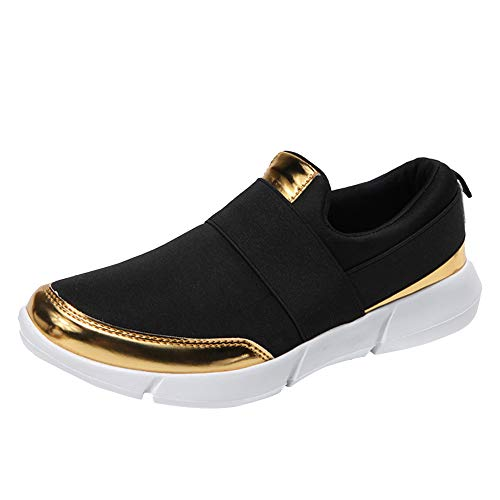 feiXIANG Damen Freizeitschuhe Leicht Slipper Flache Schuhe Laufschuhe Freizeit Turnschuhe Große Größe Sneakers 35-42(Schwarz,38) (Cowboy-stiefel Für Frauen Größe 8)