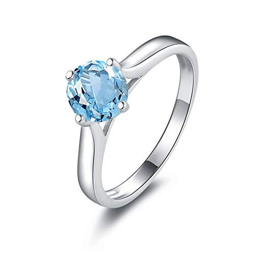 Anyeda Bulgari Ring 925 Damen Runde Form 6,5 Mm Blauer Topas-Ring Blauer Solitär-Ring Damenring Flexibel Ringgröße 45 (14.3)