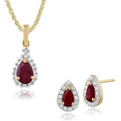Gemondo in oro giallo 9ct Rubino & Diamante Pera Orecchini A Perno & 45cm collana Set
