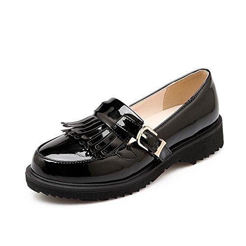 VogueZone009 Femme Rond Fermeture DOrteil à Talon Bas Houppe Boucle Chaussures Légeres Noir