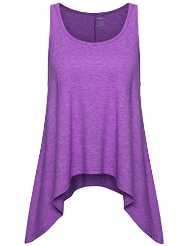 Faddare Womens Sleeveless Round Neck Burnout Workout Tank Top Handkerchief Hem Yoga Tops