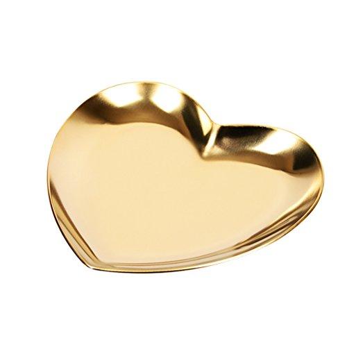 OUNONA Schmuck Tablett Ring Halskette Lagerung Herz geformt Organizer Trays Schmuck Teller (Gold)