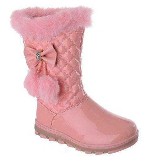 Miss Image UK Mädchen Kinder Neu Bommel Schleife Winter Warm pelzgefüttert Reißverschluss Gesteppt Stiefeletten Schuhe Größe - Pink Patent, 29 (Trim Patent Stiefel)