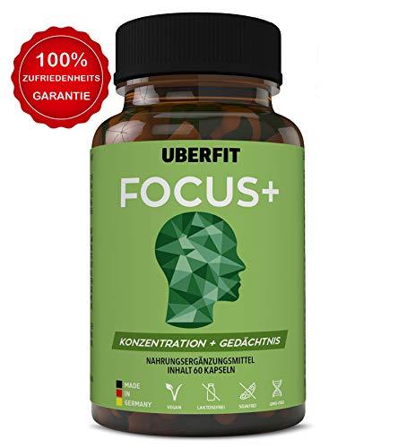 UberFit FOCUS+ Natürliche Gehirn-Kapseln für mehr Konzentration und Gedächtnisleistung ohne Koffein - mit Cholin, Bacopa, Selen, Magnesium, Zink, Q10, Alpha-Liponsäure uvm - 60 Kapseln Vegan -