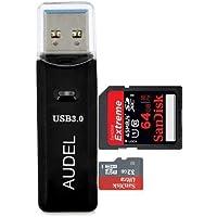 Audel SuperSpeed USB 3.0 Kartenleser, zwei TF/SD Kartenslots Memory Card Reader USB Kartenlesegerät für Micro SD/SDXC TF Karten mit LED-Betriebsanzeige