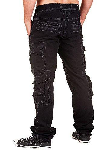 Jet Lag Herren Hose Cargohose mit vielen Taschen Black