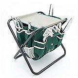 Premium, Alta Qualità Set di attrezzi con sgabello da giardino pieghevole e robusto
