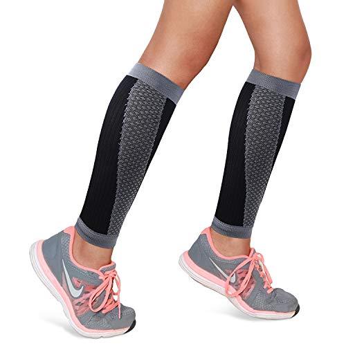 SWOLF Kompressionsstrümpfe für Damen, abgestufte Waden-Kompressionsbandage, Beinstütze, Wadenbandage, für Radfahren, Laufen, Basketball, Wandern, Sport - ohne Fuß, Unisex, grau, Large -