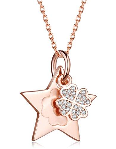 Unendlich U Fashion Sterne Vierblättriges Kleeblatt Damen Halskette 925 Sterling Silber Zirkonia Anhänger Verstellbare Kette, Rosegold