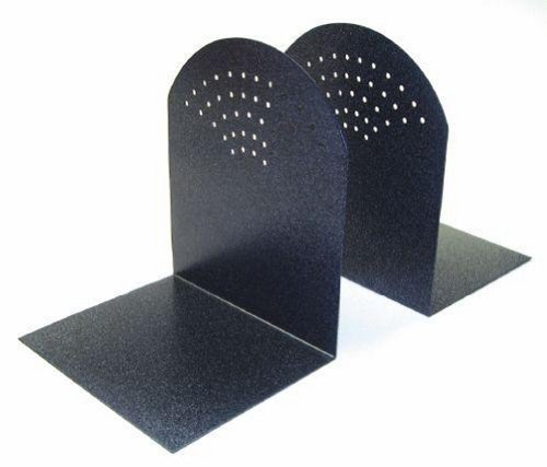STEELMASTER Fan Hole Pattern Steel Bookends, 1 Pair, 5.94 x 7 x 5 Inches, Granite (295A3) by MMF Industries