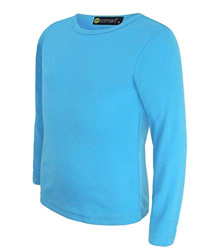 Kinder Uni Einfach Top Langärmelig Mädchen Jungen T-Shirt Oberteile Gang Uniform T-Shirt - Türkis, Damen, 134-140