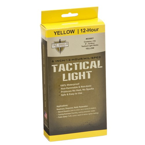 TAC SHIELD TACTICAL 12 HOUR LIGHT STICK (10-PACK)  YELLOW