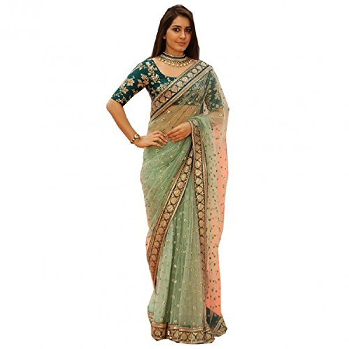 New Light Green Color Naylone Net Embroidered Party Wear Saree with Blouse Piece