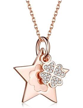 Unendlich U Fashion Sterne Vierblättriges Kleeblatt Damen Halskette 925 Sterling Silber Zirkonia Anhänger Verstellbare...