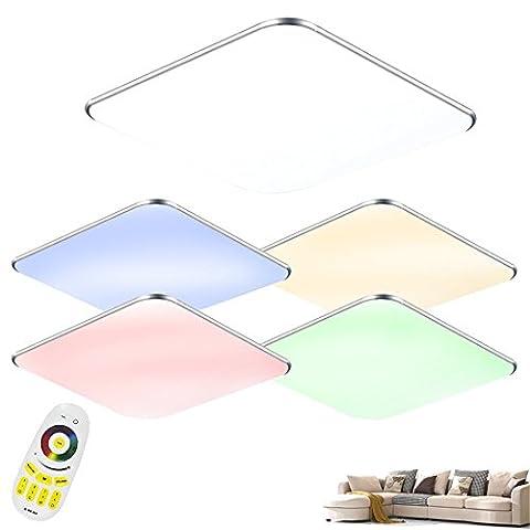 SAILUN 24W RGB Ultraslim LED Deckenleuchte Modern Deckenlampe Flur Wohnzimmer Lampe Schlafzimmer Küche Energie Sparen Licht Wandleuchte Farbe Silber (24W Silber