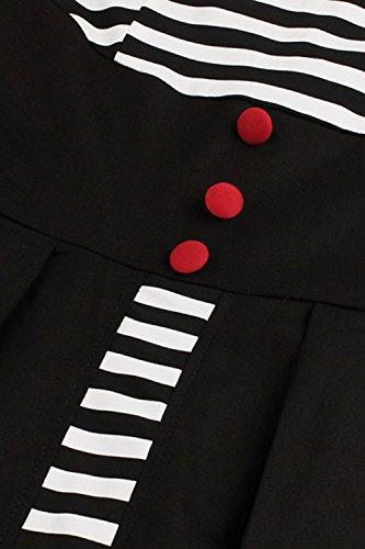 Damen 50s Vintage Rockabilly Kleid Jersey Sommerkleid Abendkleid getreift Pin Up Gr.S~4XL MisShow Schwarz