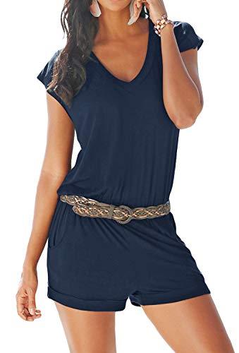 Aitos Jumpsuits Damen Kurz Sommer Strand Spielanzug Einteiler Overalls Hose Elegant Playsuit V-Ausschnitt Elastisch Hohe Taillen Casual Blau XL
