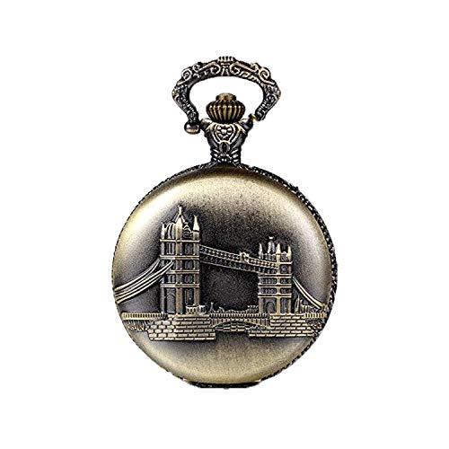 JewelryWe Steampunk Damen Herren Taschenuhr London Bridge Design auf Deckel Uhranhänger Quartz Kettenuhr Uhr Halskette
