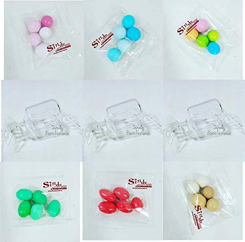 Stock scatola plexiglass per bomboniere caramella portaconfetti rigido trasparente 1caramella +1blister di confetti a scelta … (1 caramella + 1 blister confetti panna)